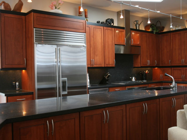kitchen with long island