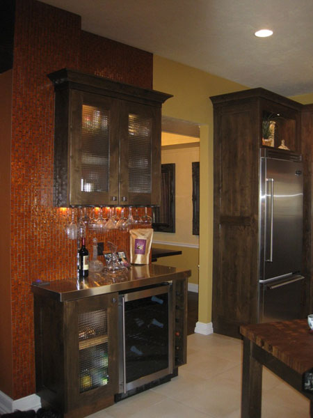 custom wine cellar in kitchen