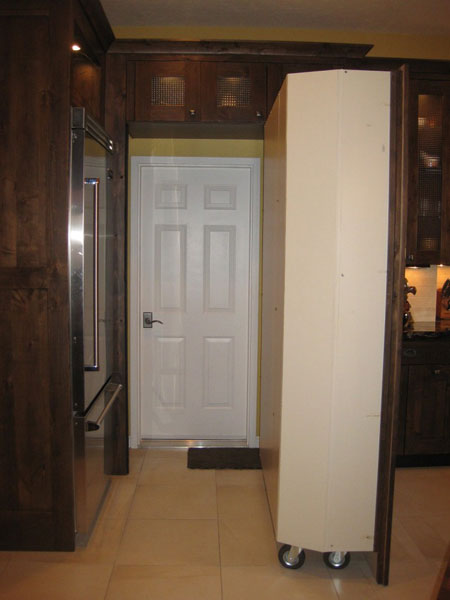 door with rolling pantry