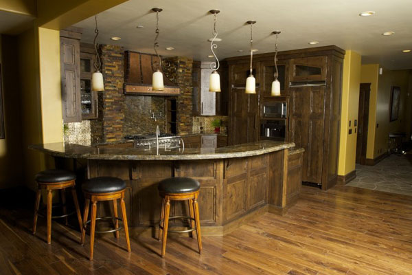 custom kitchen with bar