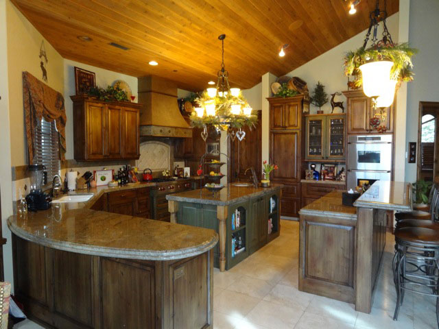 wood kitchen with island