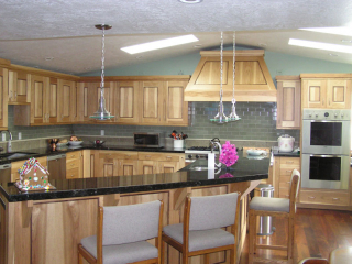 light brown wood cabinets