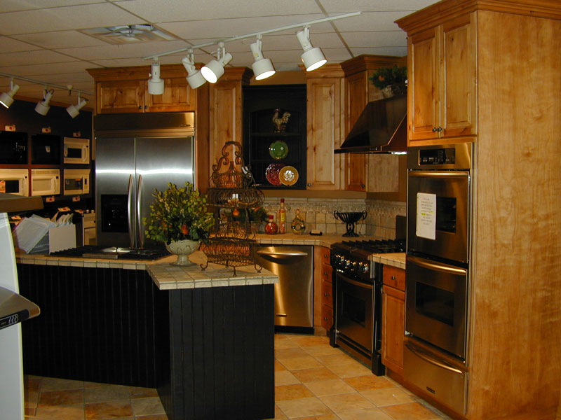 cabinets and island